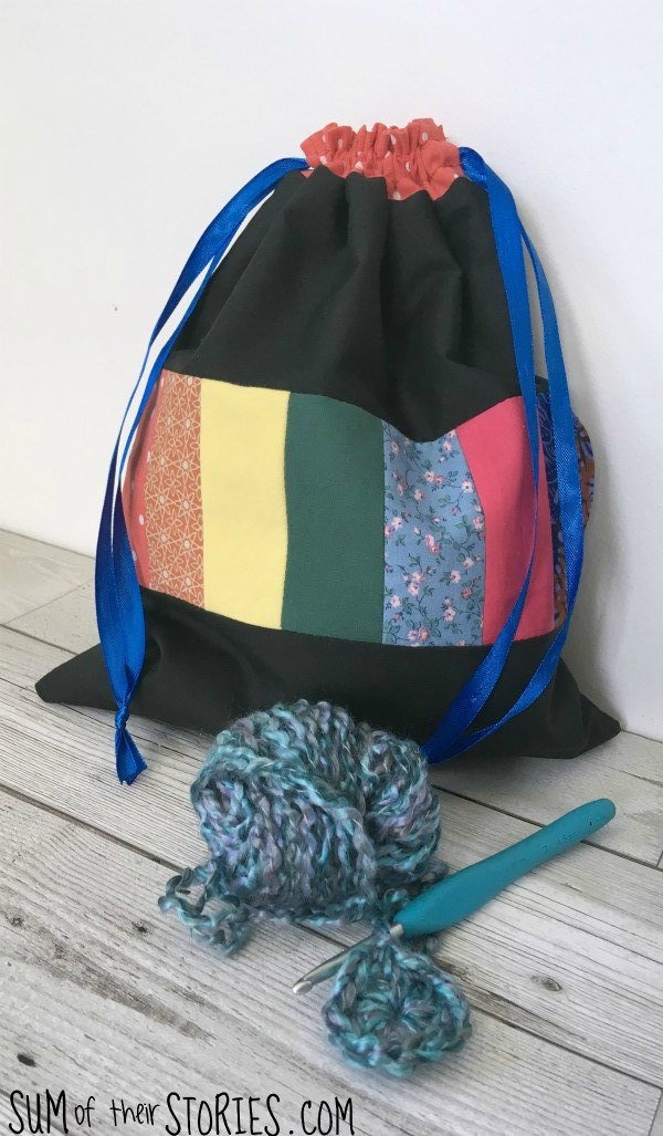 rainbow scrap drawstring bag tutorial