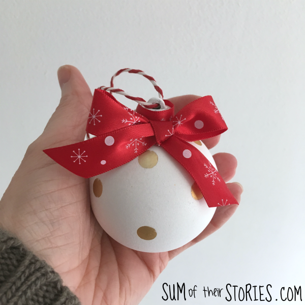 dotty ceramic effect Christmas bauble