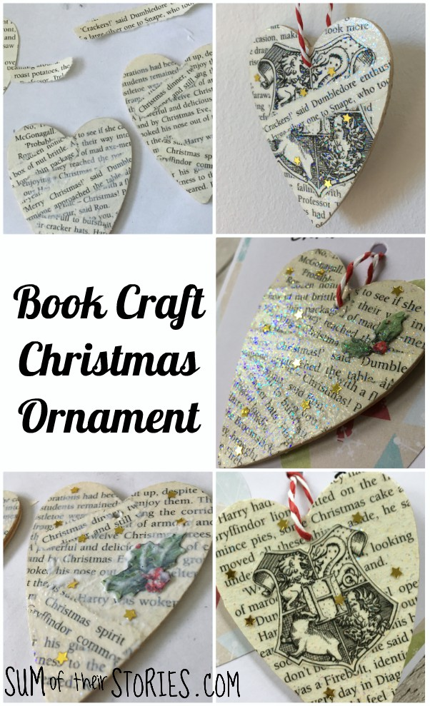 make a christmas ornament with old book pages