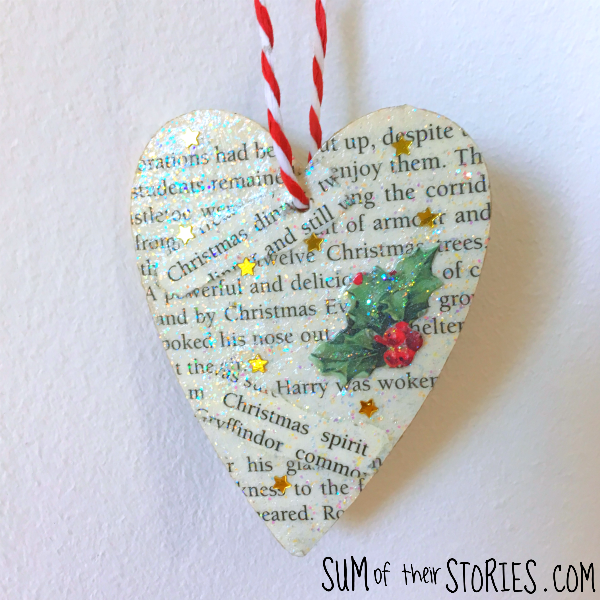Christmas book ornament