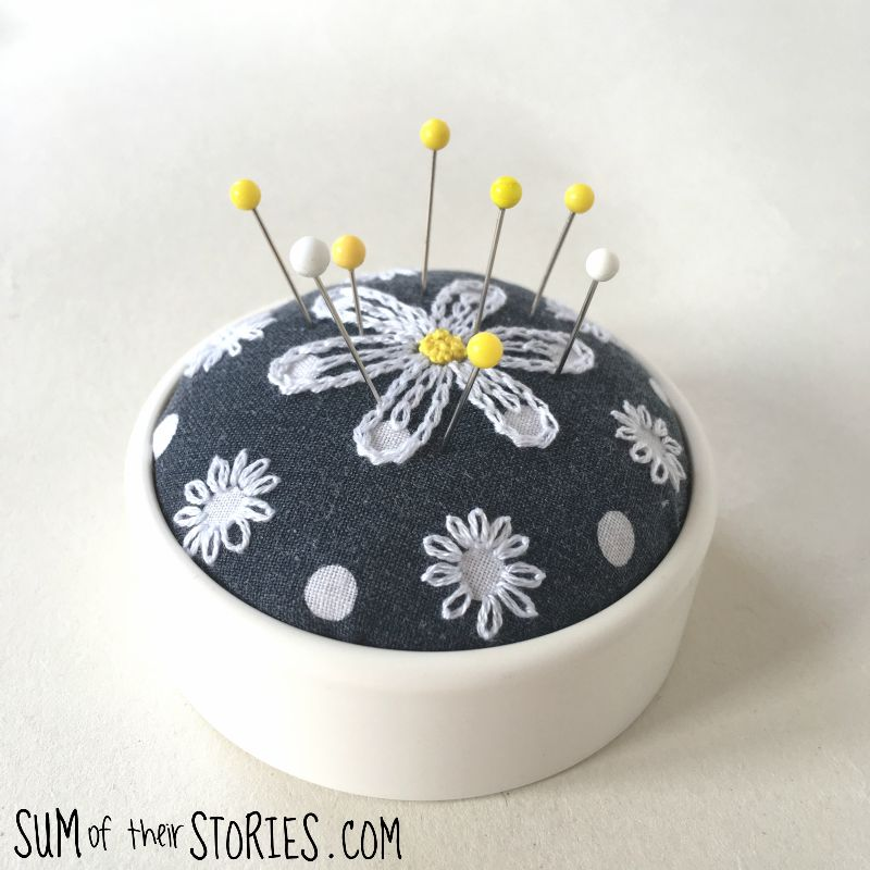 daisy embroidered pincushion