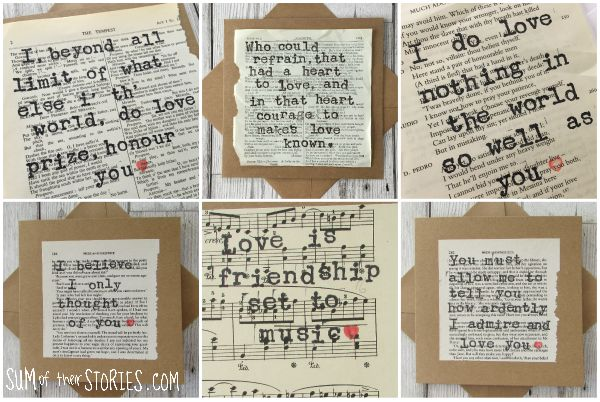 romantic quotes book page cards