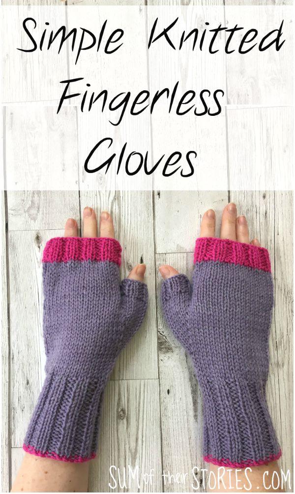 simple knitted fingerless gloves