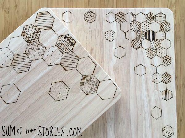 hexagon geometric wooden boards