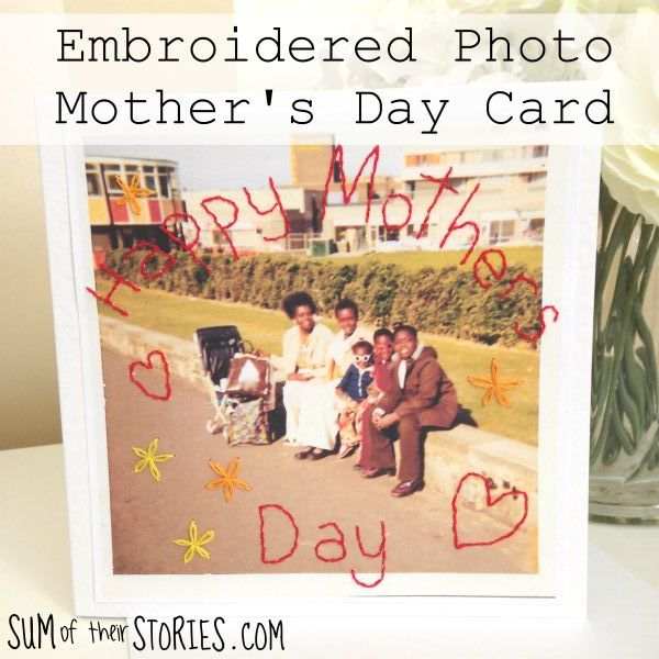 embroidered mothers day card