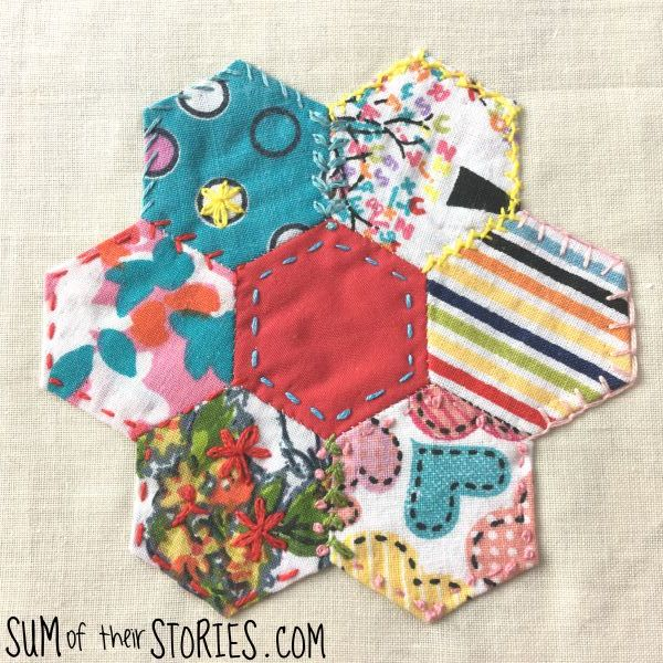 embroidered hexies patchwork