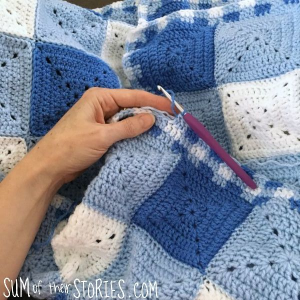 check crochet edging