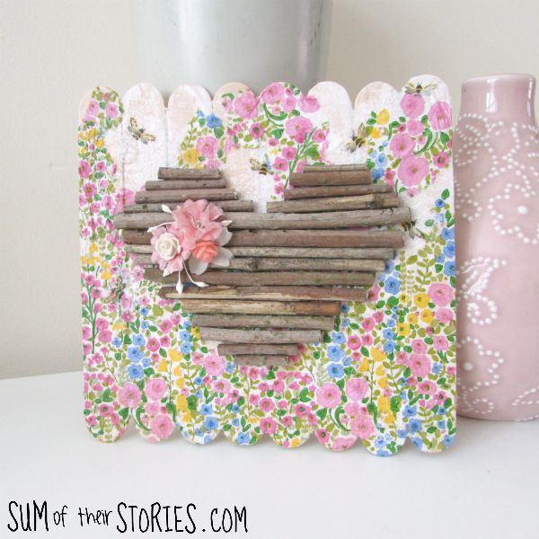 Twig heart mini pallet art