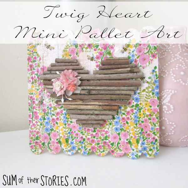 How to make twig heart mini pallet art