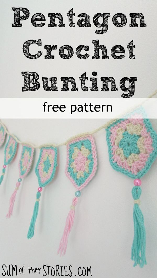 A free pattern for crochet pentagon bunting