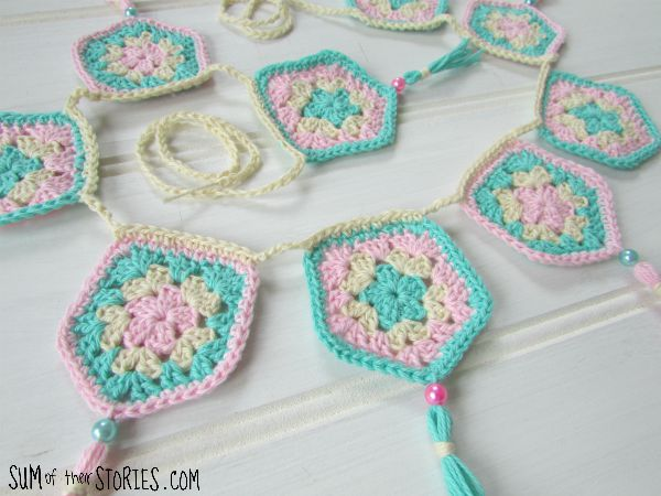 granny pentagon bunting with tassels