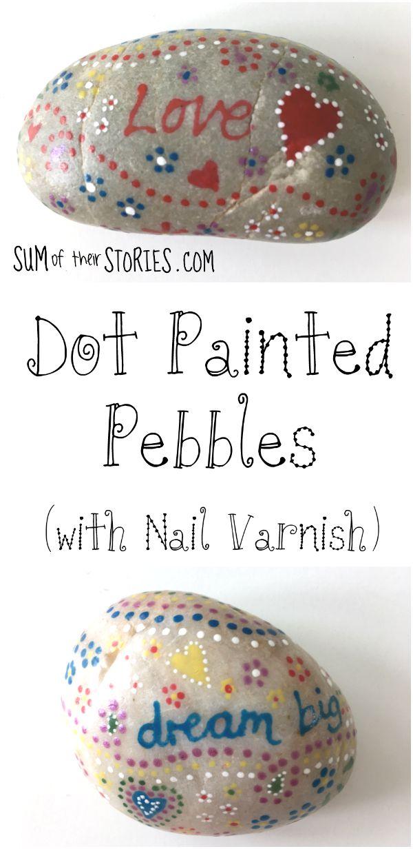 Dot painted pebbles made with nail varnish