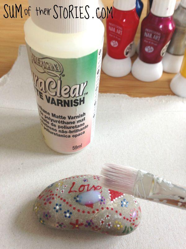varnish painted pebbles