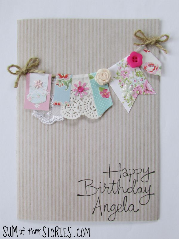 make a floral bunting card