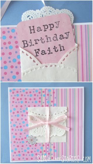 make a doily envelope card topper