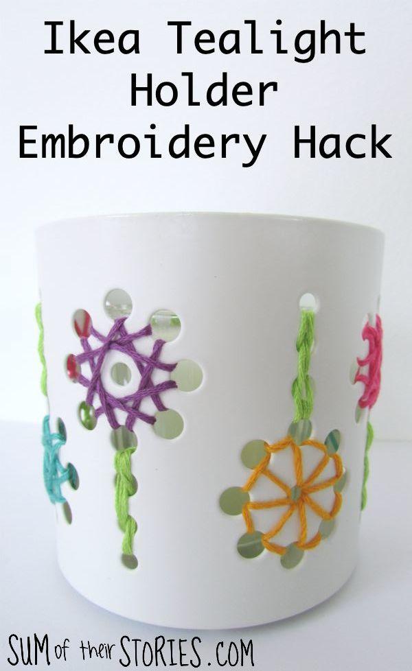 Ikea tealight holder embroidery hack