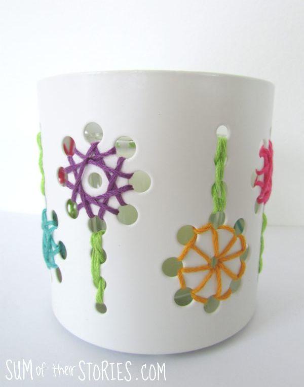 embroidered ikea tealight holder makeover
