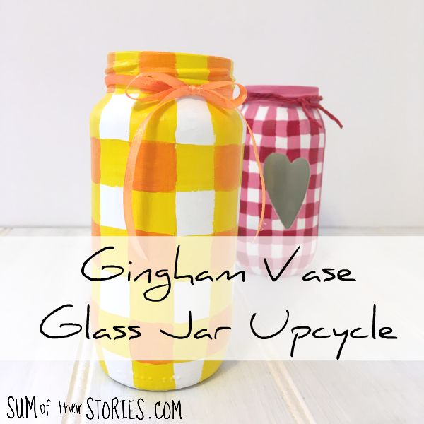 Gingham vase recycled glass jar