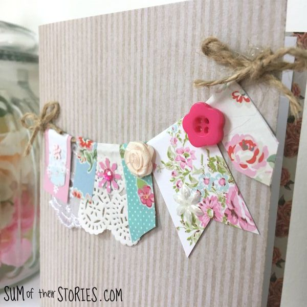 pretty floral paper garland card