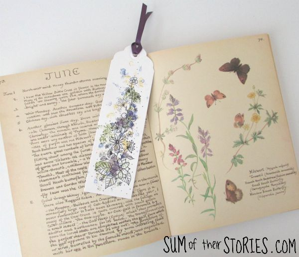 smashed flower bookmark