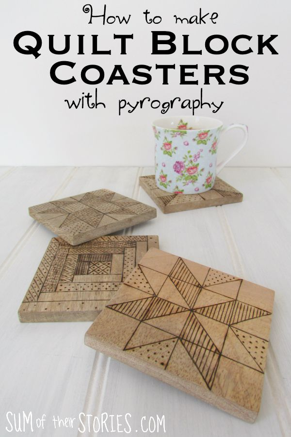 how to make quilt block effect coasters woodburning