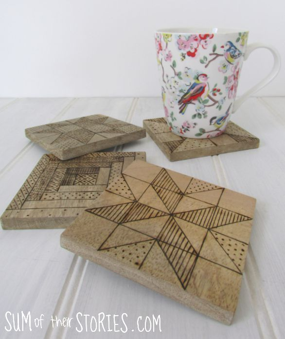 quilt block effect coasters with wood burning