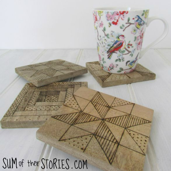 Wood burned coasters with quilting design