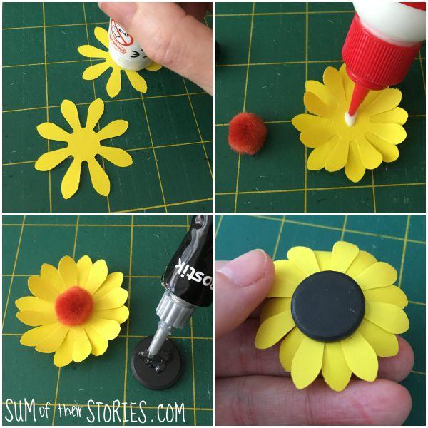 sunflower noticeboard magnets