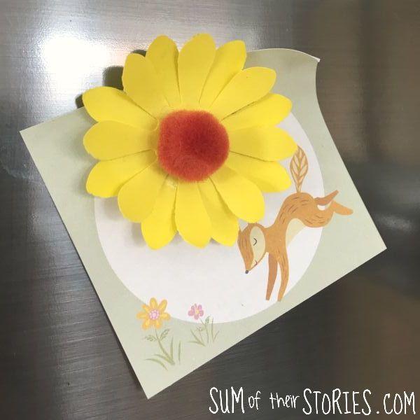 paper and pom pom sunflower fridge magnet