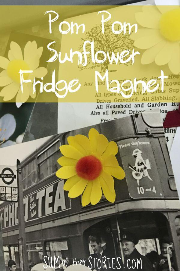 A paper sunflower with brown pom pom centre made into a fridge magnet