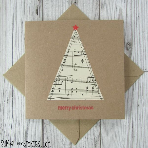 Recycled Pages Christmas Card