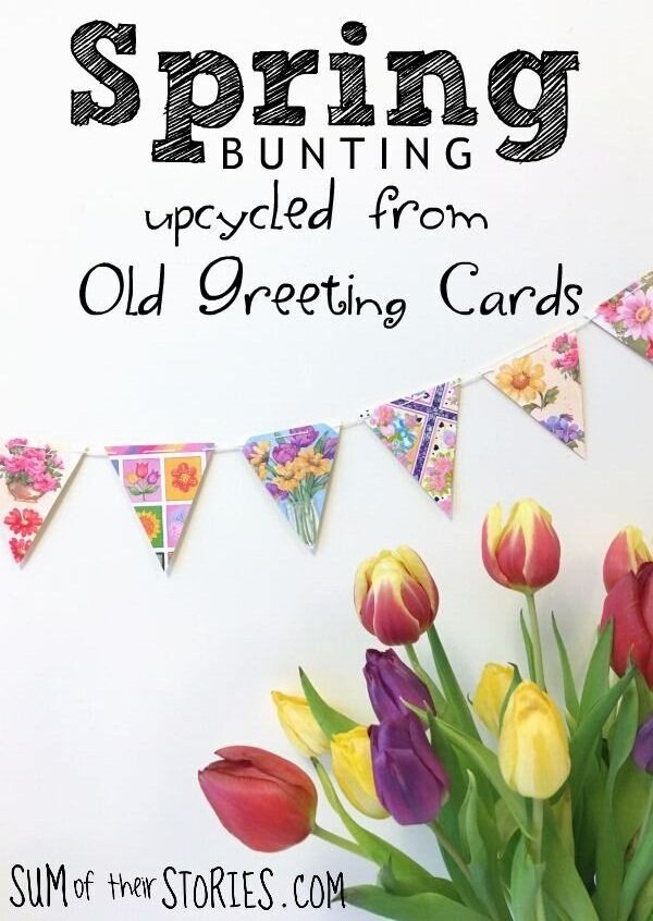 spring bunting from old greeting cards