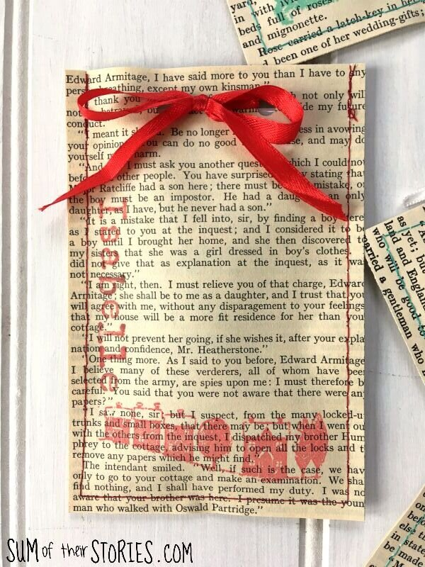 Upcycled book page gift bag