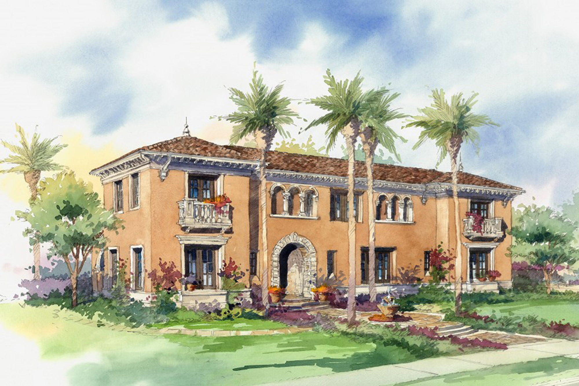 Crystal Cove - Northern Italian Estate DRAWING by Oatman Architects