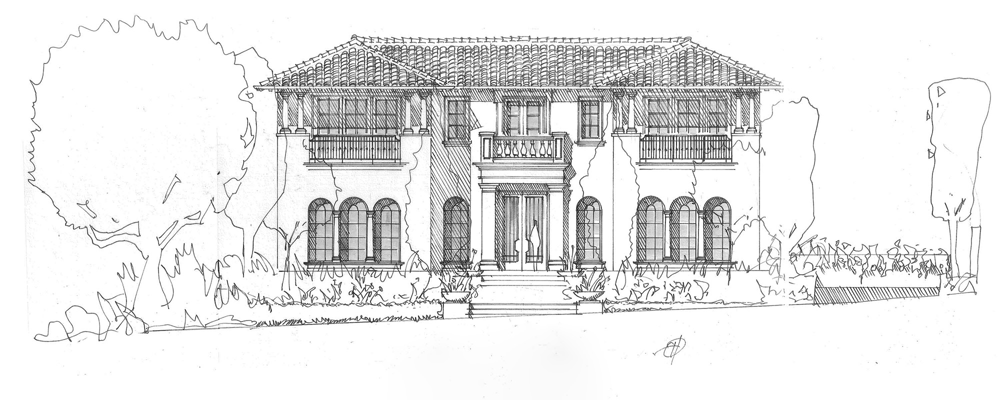 Crystal Cove Northern Italian Under Construction Elevation By Oatman Architects