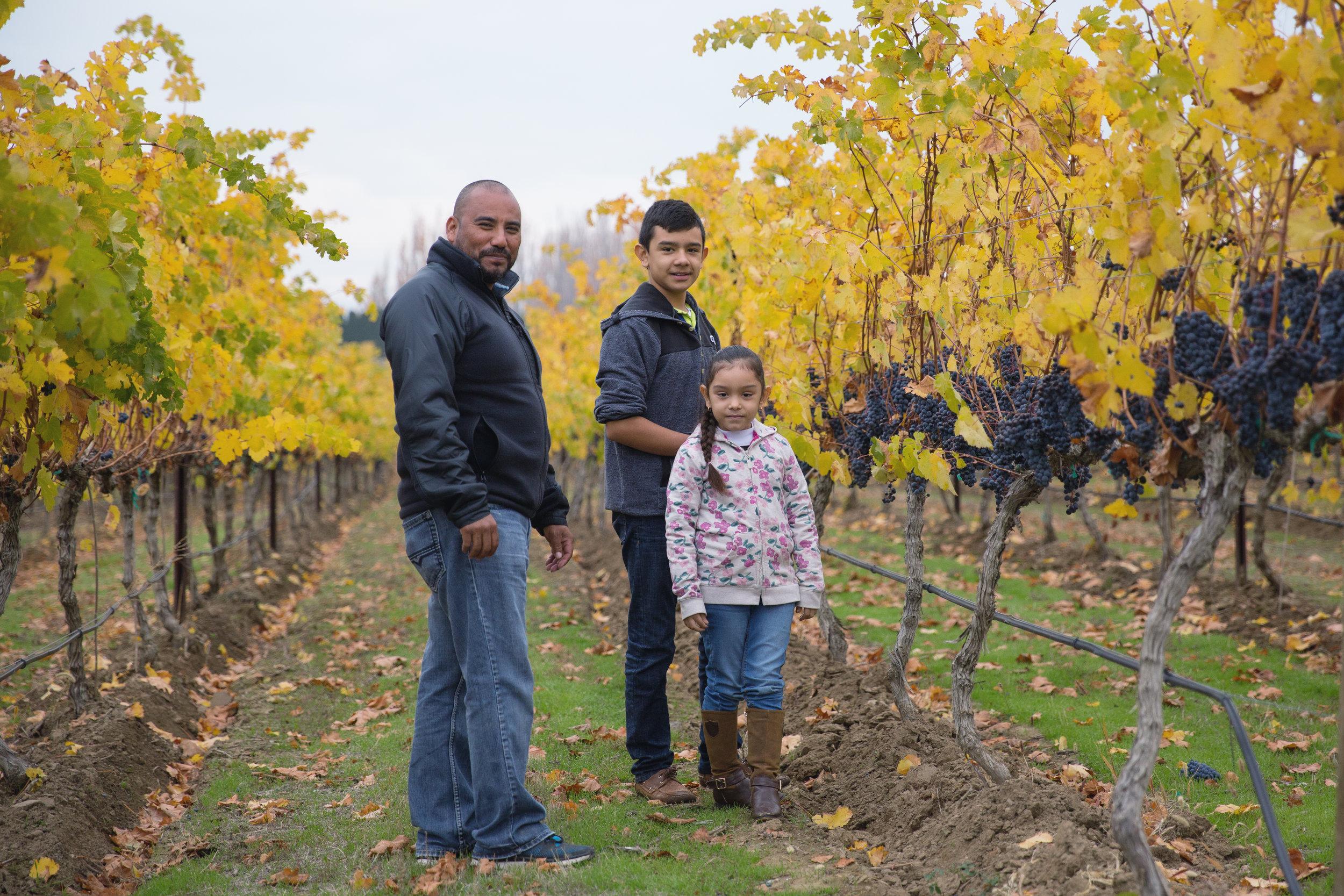 Eliceo Gil - Vineyard Foreman with his grandchildren