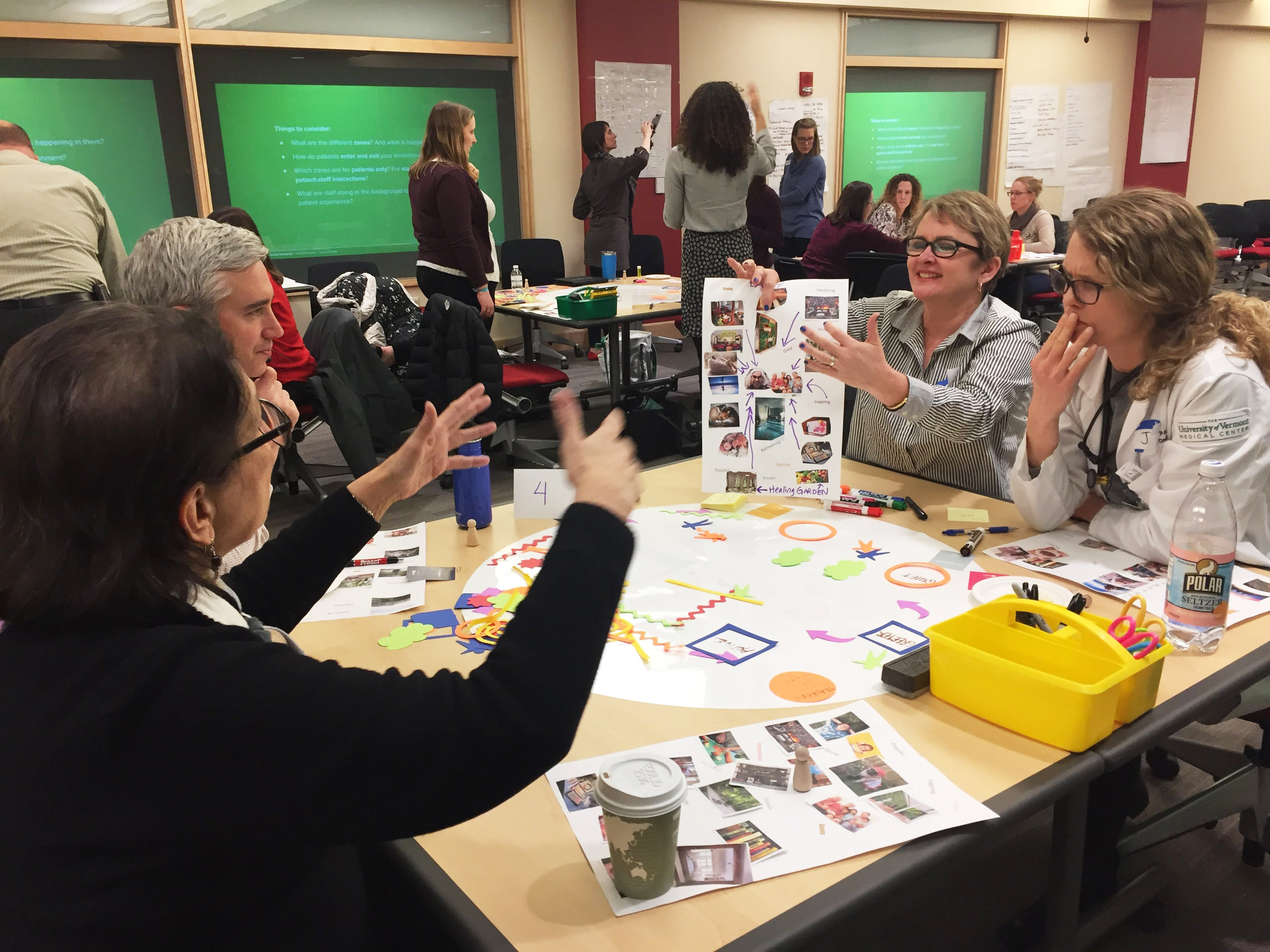 Patients and staff participated in co-creative workshops to help envision the ideal clinic environment and experience.
