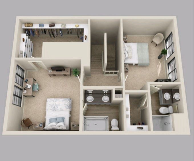 Floor 2 - Plan D3 - 1,632 Square Feet (total) - Townhome