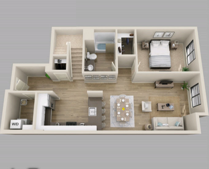 Plan D3 - 1,632 Square Feet (total) - Townhome