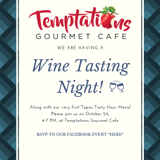 October 24, 2019 - Wine Tasting of our new fall wines AND our first Tapas Tasty Hour Menu!RSVP On Facebook *Here*3501 Oleander Dr. Wilmington, NC 28403Hanover Center4 - 7 pm