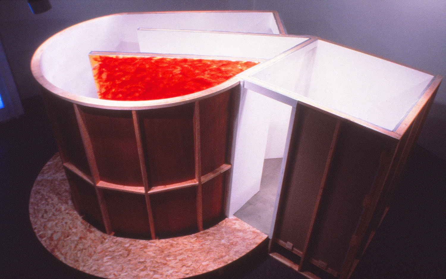 Aesthetic Truths: Illusion & Reality. 1996.  Wood/Sheetrock/Cement, 17'x14'x8'. Gallery W, Sacramento, CA