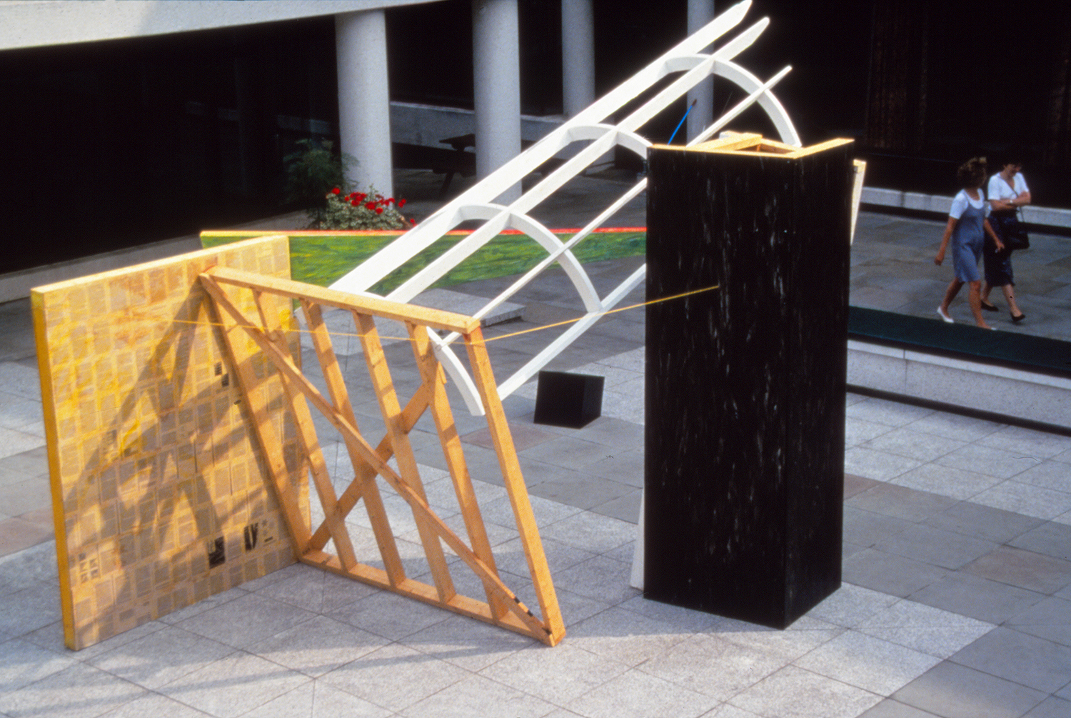 It's About Time: Improbable Assumptions. 1994   Wood/Mixed Media 12'x 8'x 10'. Queens College, Cambridge, England