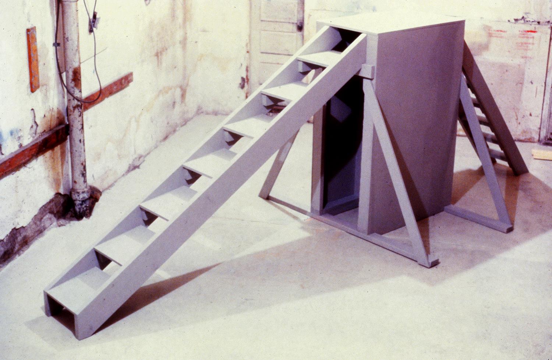 "Lean Step  1980  Wood. 15'x 7'x 8'6""  Cheney Cowles Art Museum, Spokane, WA"