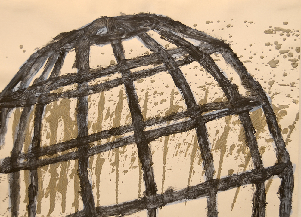 """Construction Drawings: Internal Drive 1991   Charcoal/cement/acrylic on paper. 30""""x 22"""" $400"""