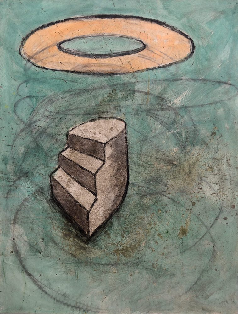 "Head Above 1993   Cement/Charcoal/and Acrylic on Paper 38""x 50"" $600"