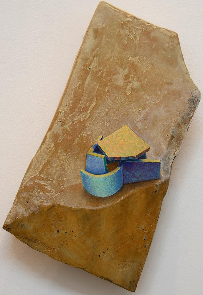 "Freed: Breakthrough  2008.    Acrylic on Cement  7"" x 12""  $400"