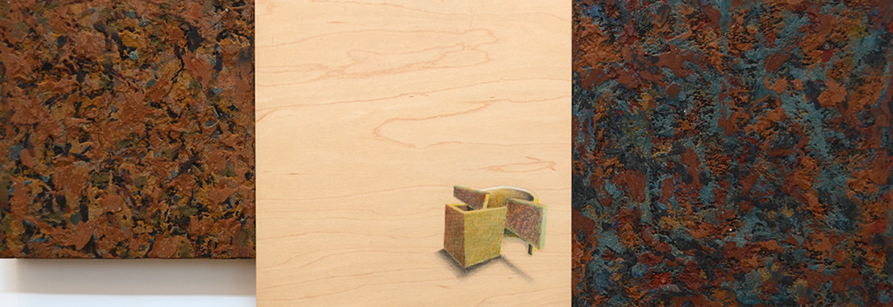 """Interior Alignment  2004.   Mortar and Pastel on Wood  34.25"""" x 12""""  $1,000"""