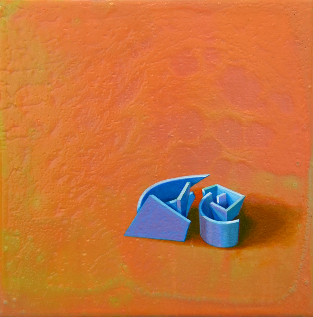 "Duo. 2010    Acrylic on Panel. 8""x 8""x 2"". $600"