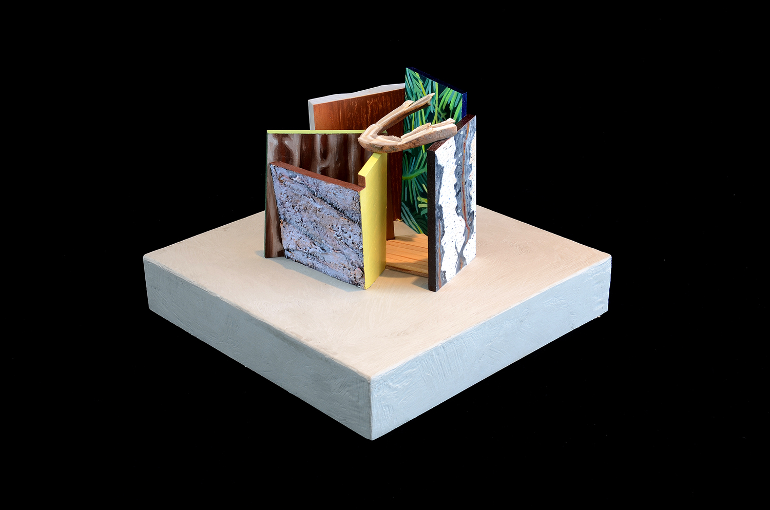 """Wyo Junctures: Hidden Corral. 2014.  Wood/Mixed Media/Oil. Shown at the Kirkland Art Center in a group show of participants from the Brush Creek Ranch Residency called """"All Nine Legs"""". This maquette was 10""""x 10""""x 8""""."""