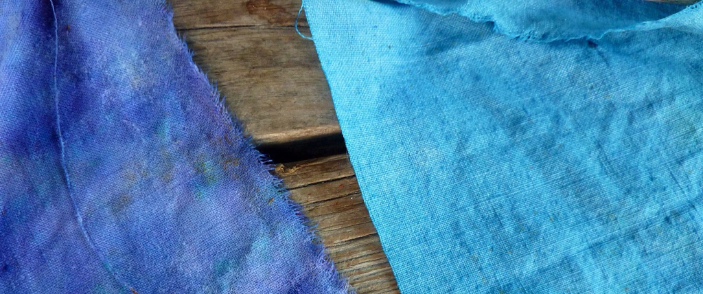 Blue ink extracted from iris petals and stored in 'clothlet' form, a method used in medieval times to transport ink by soaking clothes in ink and drying them.